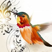 image of fern  - Vector illustration with realistic humming bird and notes for design - JPG