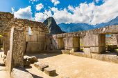 Inca Wall In Machu Picchu, Peru, South America. Example Of Polygonal Masonry. The Famous 32 Angles S