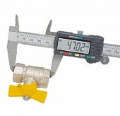 stock photo of vernier-caliper  - Water valve set and Vernier caliper isolated on white background - JPG