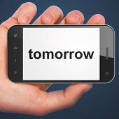 Time concept: Tomorrow on smartphone