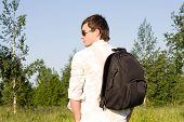 Young Man With Rucksack Outdoor
