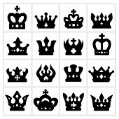 Crown icon - black crown icons set on white background