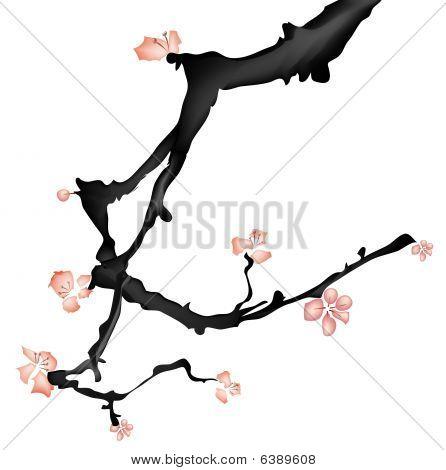 Постер, плакат: Китайская живопись сливы цветок, холст на подрамнике