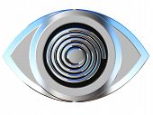 Eye Icon With Spiral Effect In Steel Blue Grey