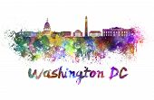 Washington Dc Skyline In Watercolor