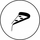 pizza slice with melting cheese symbol