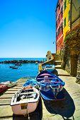 Riomaggiore Village Street, Boats And Sea. Cinque Terre, Ligury, Italy