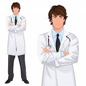 picture of coat tie  - Young handsome male medicine doctor assistant standing in white lab coat with stethoscope - JPG