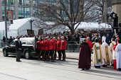 Ceremony of handling Jim Flaherty casket at his State Funeral In Toronto, Canada