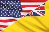 Series Of Ruffled Flags. Usa And Niue.