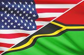 Series Of Ruffled Flags. Usa And Republic Of Vanuatu.