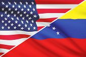 Series Of Ruffled Flags. Usa And Bolivarian Republic Of Venezuela.