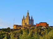 picture of sacred heart jesus  - Temple of the Sacred Heart of Jesus on Tibidabo Mountain in Barcelona Catalonia Spain - JPG