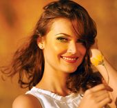 Beauty Sunshine Girl Portrait. Happy Woman Smiling.