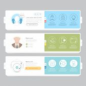 Responsive flat UI navigation elements with icons set for personal portfolio website