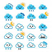 Cute cloud - Kawaii, Manga icons with different expressions - happy, sad, angry