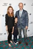 NEW YORK-APR 21: (L-R) Actress Sasha Alexander, daughter Lucia and husband Edoardo Ponti attend the
