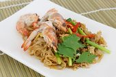 Thai Food Pad Thai, Stir-fried Rice Noodle With Prawns