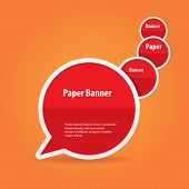 vector abstract red paper banner or speech bubble