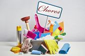 stock photo of plunger  - House cleaning products pile - JPG