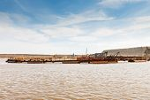 picture of dredge  - Dredge on the lake Extraction of sand for construction - JPG