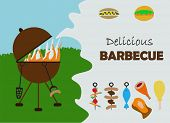 stock photo of briquette  - barbecue invitation - JPG