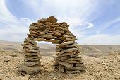 Stone Cairn In Negev Desert.