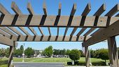 pic of pergola  - Basic shady wooden pergola in the backyard - JPG
