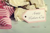 Retro Style Happy Mothers Day Gift Of White Roses Bouquet With Pink Stripe Ribbon And Gift Tag With