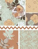 Retro Seventies Seamless Floral Vector Patterns and trim.