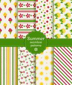 Summer Seamless Patterns. Vector Collection.
