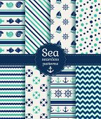 image of color wheel  - Set of sea and nautical seamless patterns in white turquoise and dark blue colors - JPG