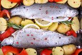 Two Marinated Rainbow Trout, Red Pepper, Potato
