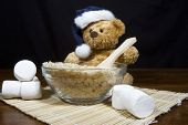Christmas Bear Making Puffed Rice Cereal Treats