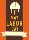 Vintage poster, banner or flyer design with stylish text 1st May Labor Day on orange and brown stripes background.
