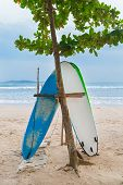 Two surf boards on sandy Weligama beach in Sri Lanka.