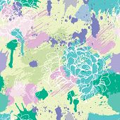 Seamless Pattern With Blots, Ink Splashes And Hand Drawn Flowers. Abstract Background For Design In