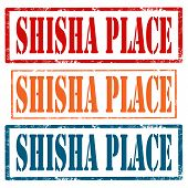 image of shisha  - Set of grunge rubber stamps with text Shisha Place - JPG