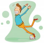 stock photo of adversity humor  - Illustration of a man stumbling and falling because of some stones - JPG