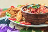 Nachos with hot tomato salsa