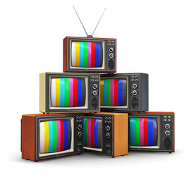 picture of tv sets  - Stack or pile of old retro color wooden home TV receiver sets with antenna isolated on white background - JPG