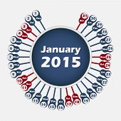 Vector calendar 2015 January template
