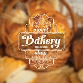 Vintage bakery badge on blurred background