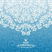 Vintage card with Christmas decorations. Stylized snowflake. Vector illustration