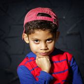 Emotional Little Black Afro-american Boy Portrait