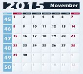 Calendar 2015 November vector design template