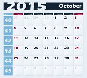 Calendar 2015 October vector design template