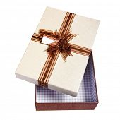 opened gift packing tied by ribbon, isolated on white with path