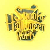 Spooky Halloween Party Sunny Poster Template Letters 3D