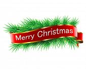 Christmas decorations with ribbon on white background. Vector. Illustration.